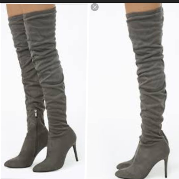 3542ba7f243 New Sexy Gray SUEDE THIGH HIGH BOOTS SIZE 6